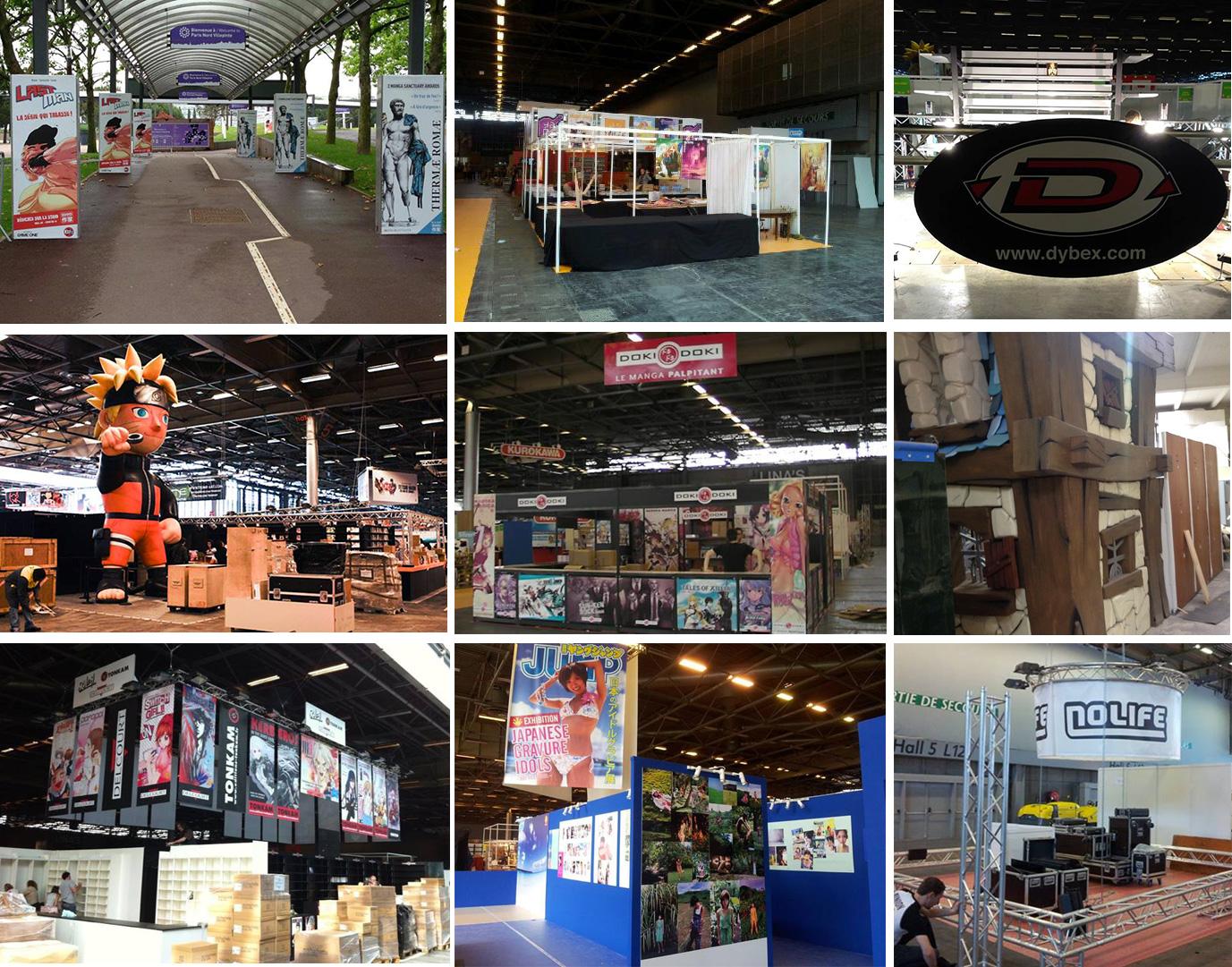Japan expo 2013 j 1 le montage des stands manga news for Montage des stands