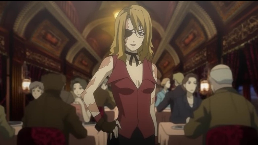 Baccano! nice holystone jacuzzi splot nanamura blonde brown hair couple duo eyepatch female holding hands locked arms