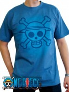 One Piece - T-shirt Skull With Map Used Stone Blue - ABYstyle