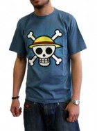 One Piece - T-shirt Skull With Map Stone Blue Homme - ABYstyle