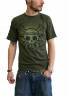 One Piece - T-shirt Skull With Map Used Kaki - ABYstyle